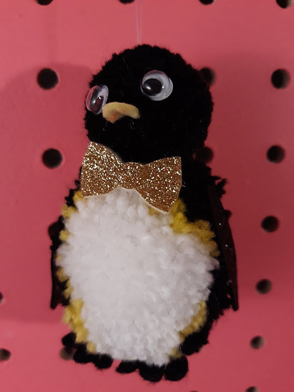 Pom pom penguin - gold bow tie