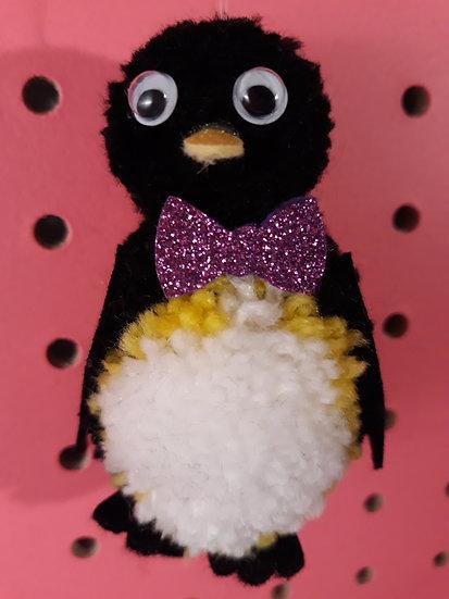 Pom pom penguin - purple bow tie