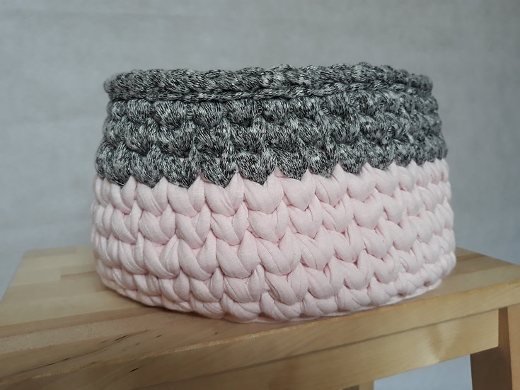 Crocheted basket - pink and grey marl