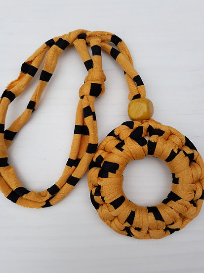 Crocheted donut necklace - gold and black stripes