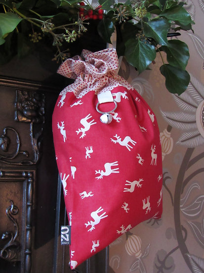 Santa's stocking present sack - red with cream reindeer