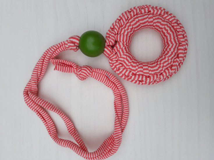 Crocheted donut necklace - small red & white stripes