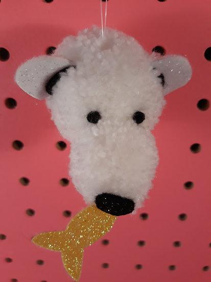 Pom pom polar bear -yellow