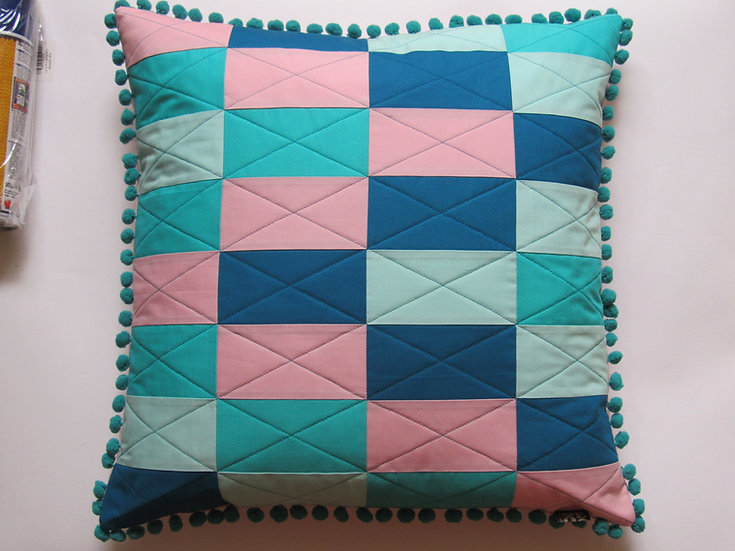 Break Out cushion - blues & pink