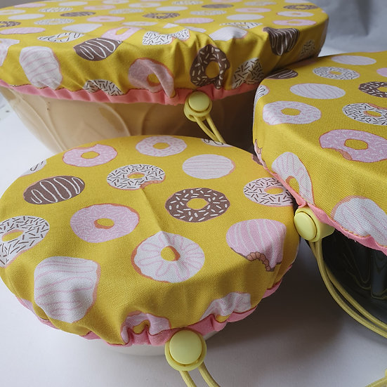 Fabric bowl cover set - yellow doughnuts