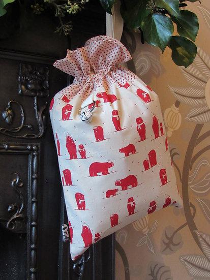 Santa's stocking present sack - cream with red polar bears