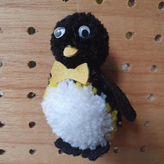 Pom pom penguin - yellow bow tie