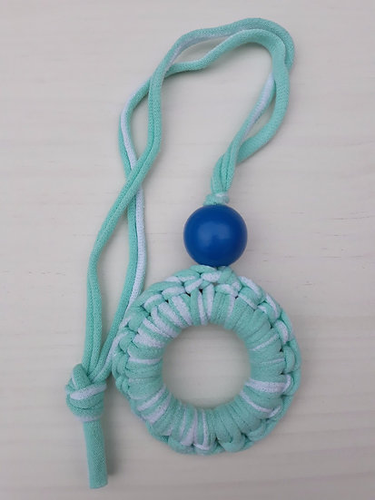 Crocheted donut necklace - turquoise and white stripe