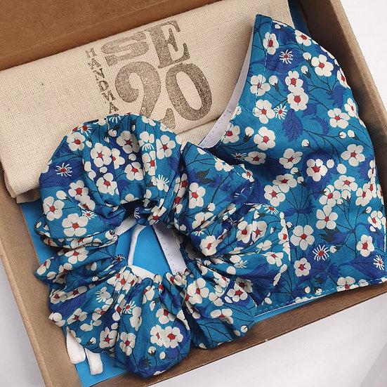 Liberty face mask & scrunchie set - Mitsi blue