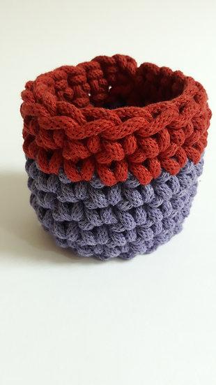 Crocheted cuff bracelet - purple & terracotta