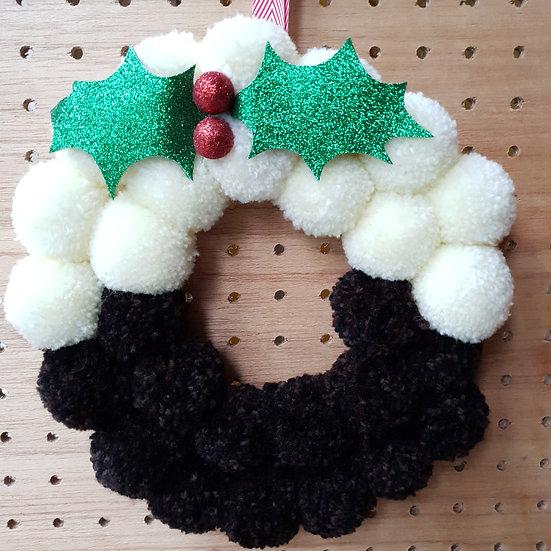 pom pom wreath - Christmas pudding