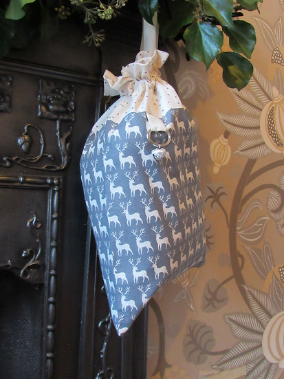 Santa's stocking present sack - grey with cream reindeer