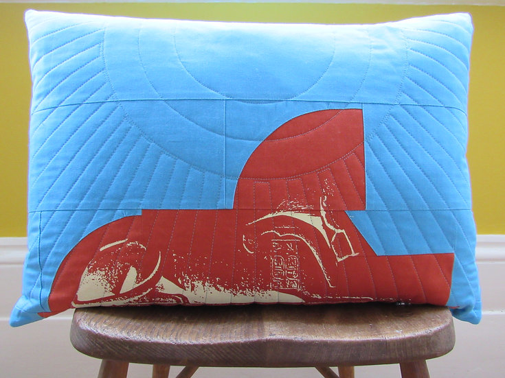 Crystal Palace Sphinx cushion - rust and blue