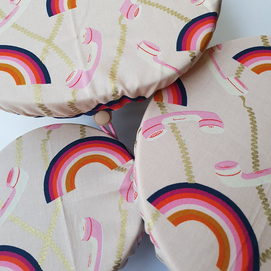 Fabric bowl cover set- rainbow telephones