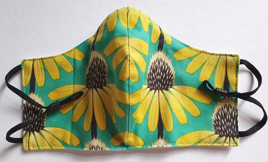 Women / teen's face covering - yellow echinacea