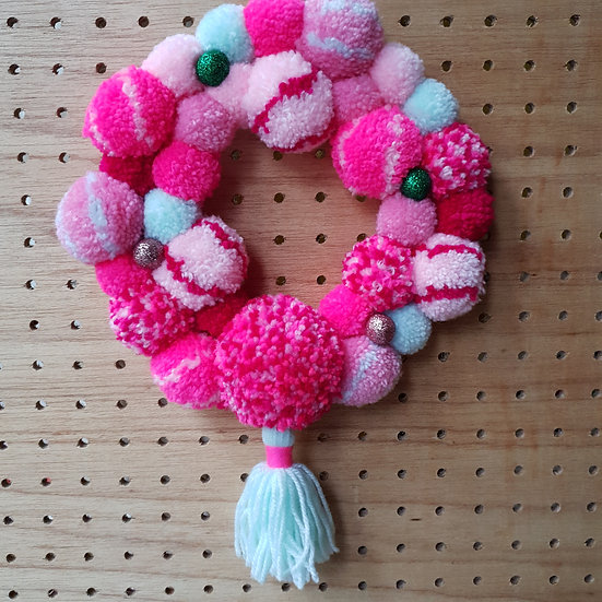 pom pom wreath - pink and mint