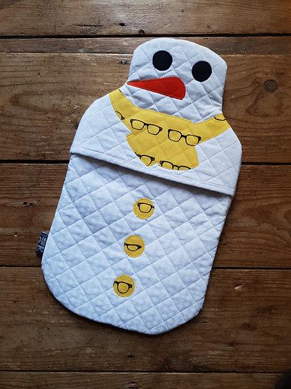 Snowman hot water bottle - yellow specs