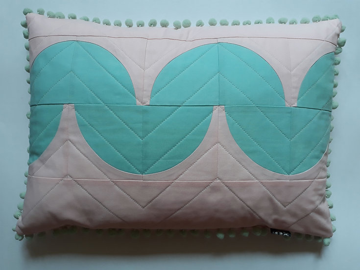 Quibble cushion - baby pink & bahama blue