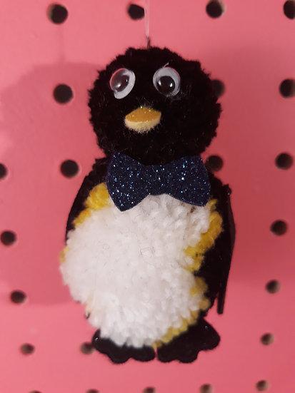 Pom pom penguin - navy blue bow tie