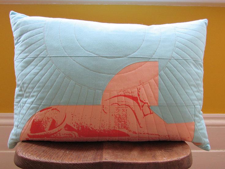 Crystal Palace Sphinx cushion - ice peach & blue