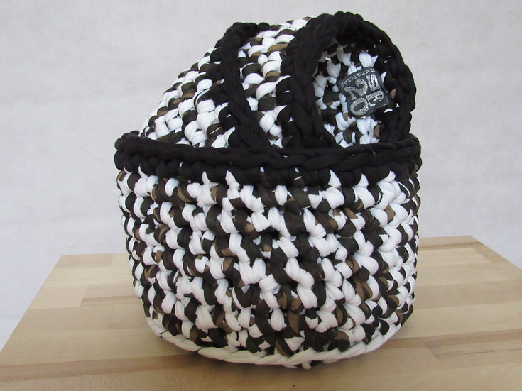 Crocheted basket set - khaki, white and black with black trim