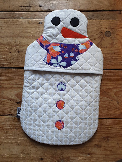 Snowman hot water bottle - purple flowers