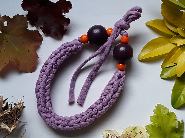 Crocheted necklace - dark lilac with purple and orange wooden beads
