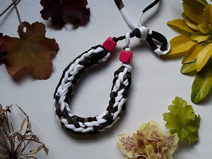 Crocheted necklaces - camo with bright pink beads