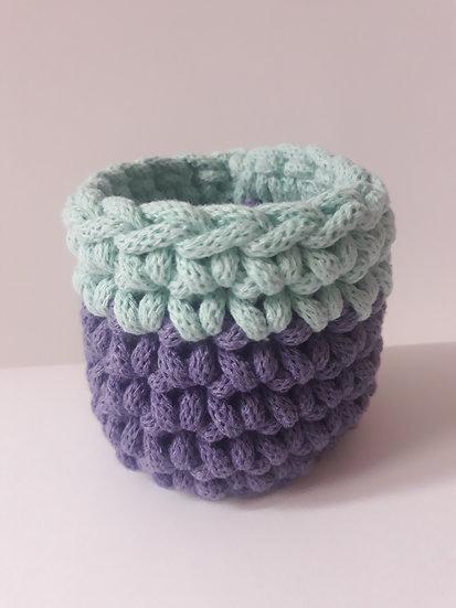 Crocheted cuff bracelet - purple & mint