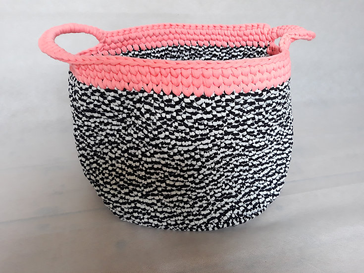 Large crocheted basket - black and white with neon pink trim