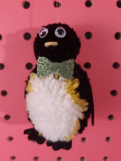 Pom pom penguin - light green bow tie
