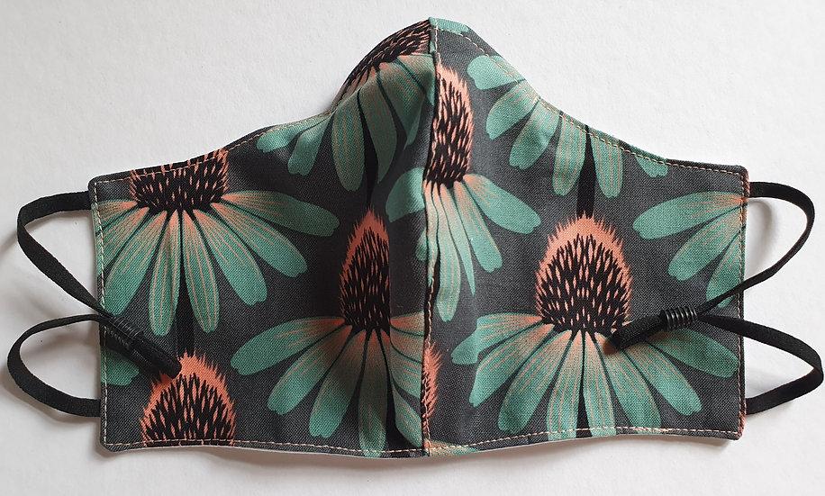 Women / teen's face covering - green echinacea