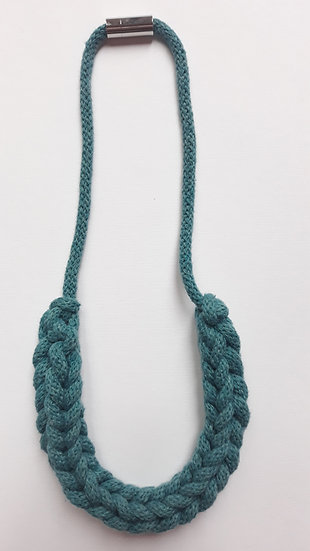 Crocheted necklace - teal blue