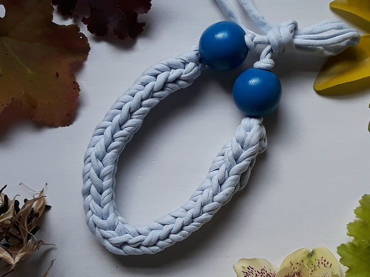 Crocheted necklace - palest blue with blue wooden bead
