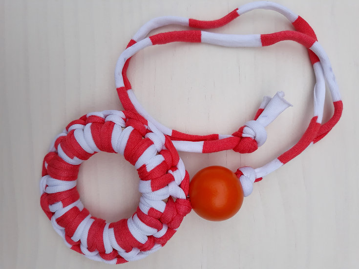 Crocheted donut necklace - red and white wide stripe