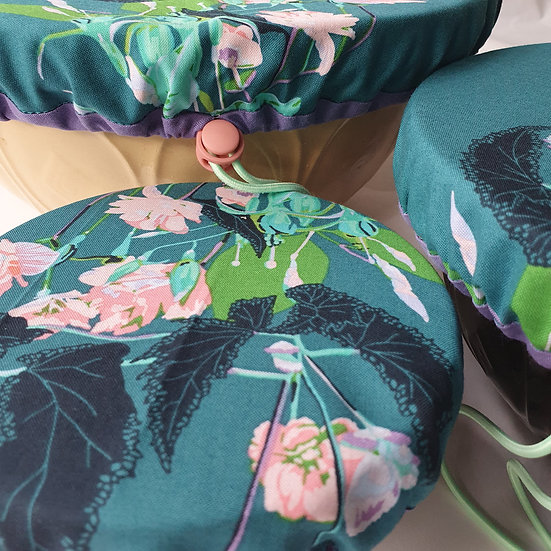 Fabric bowl cover set - flowers