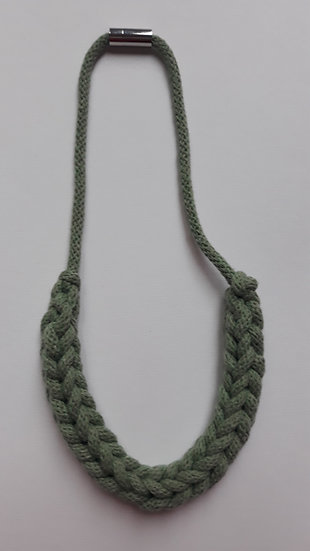 Crocheted necklace - sage green