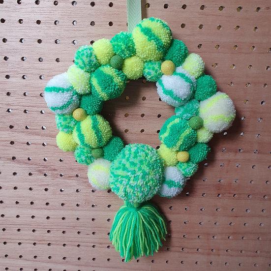 Pom pom wreath - lemon and lime