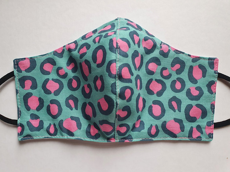 Women/teen's face covering - turquoise and pink animal print