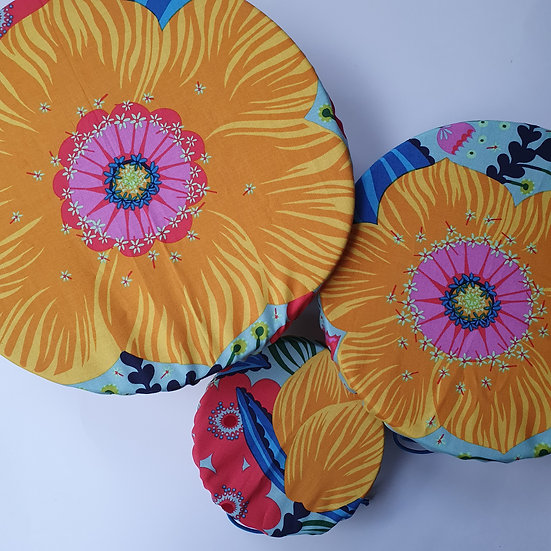 Fabric bowl covers - yellow flower