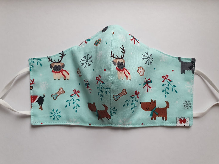 Women/teen's face covering - Christmas dogs
