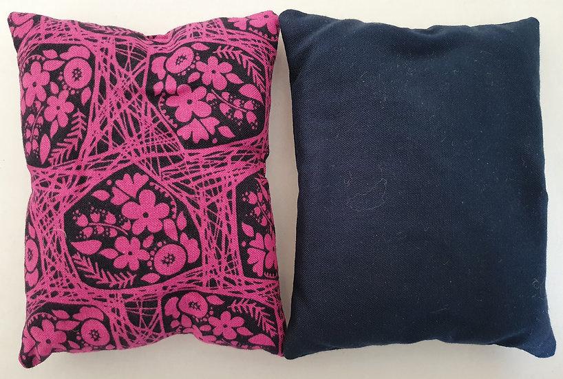 Lavender bag set - pink flower and navy