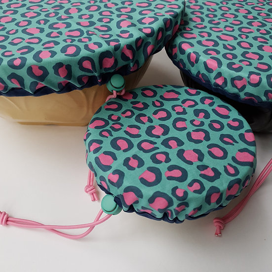 Fabric bowl cover set - blue leopard