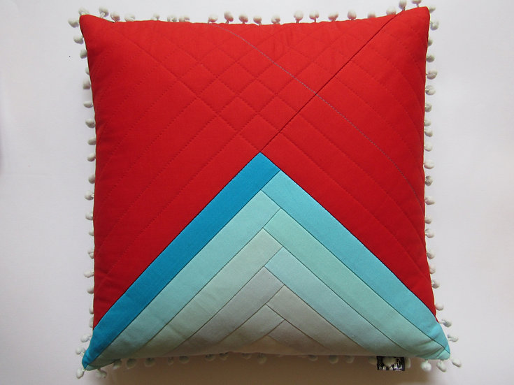 Ombre cushion - blues and red