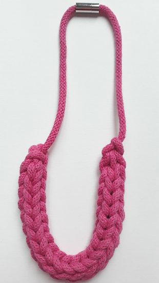 Crocheted necklace - bubblegum pink
