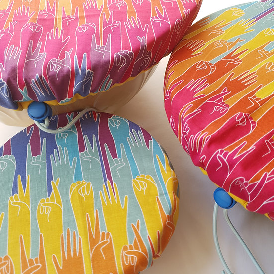 Fabric bowl cover set - hands up