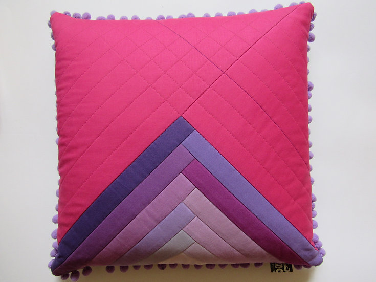 Ombre cushion - purples & bright pink