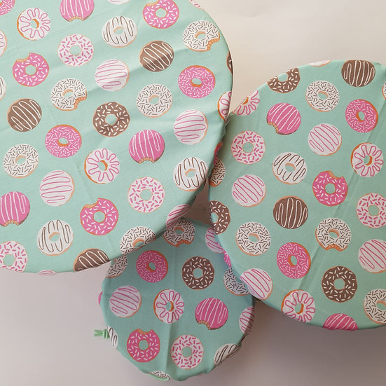 Fabric bowl cover set - mint doughnuts