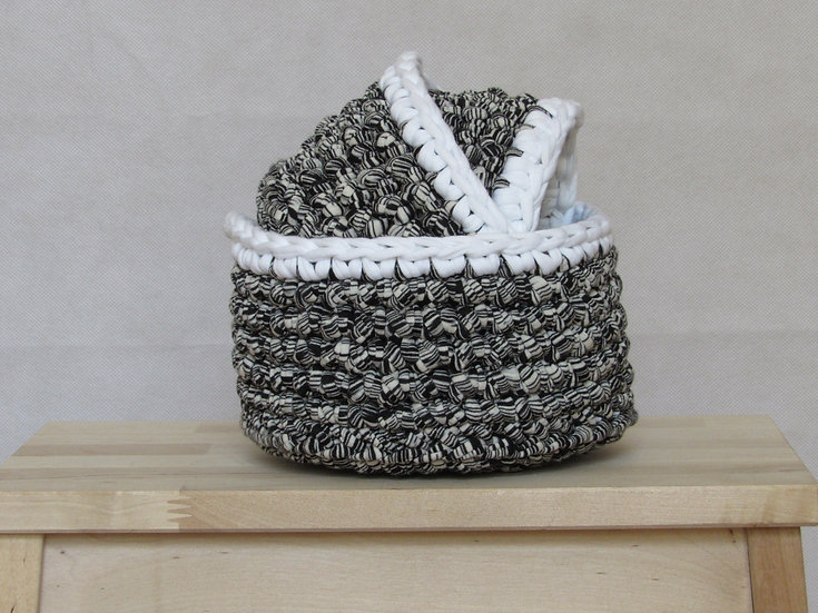 crocheted nesting baskets -grey with white trim