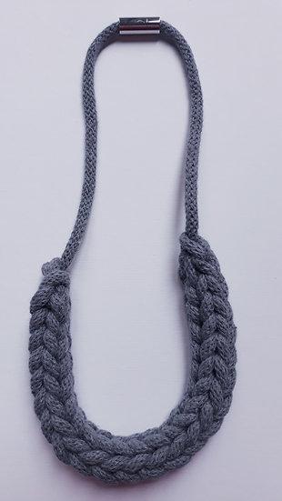 Crocheted necklace - dark slate grey